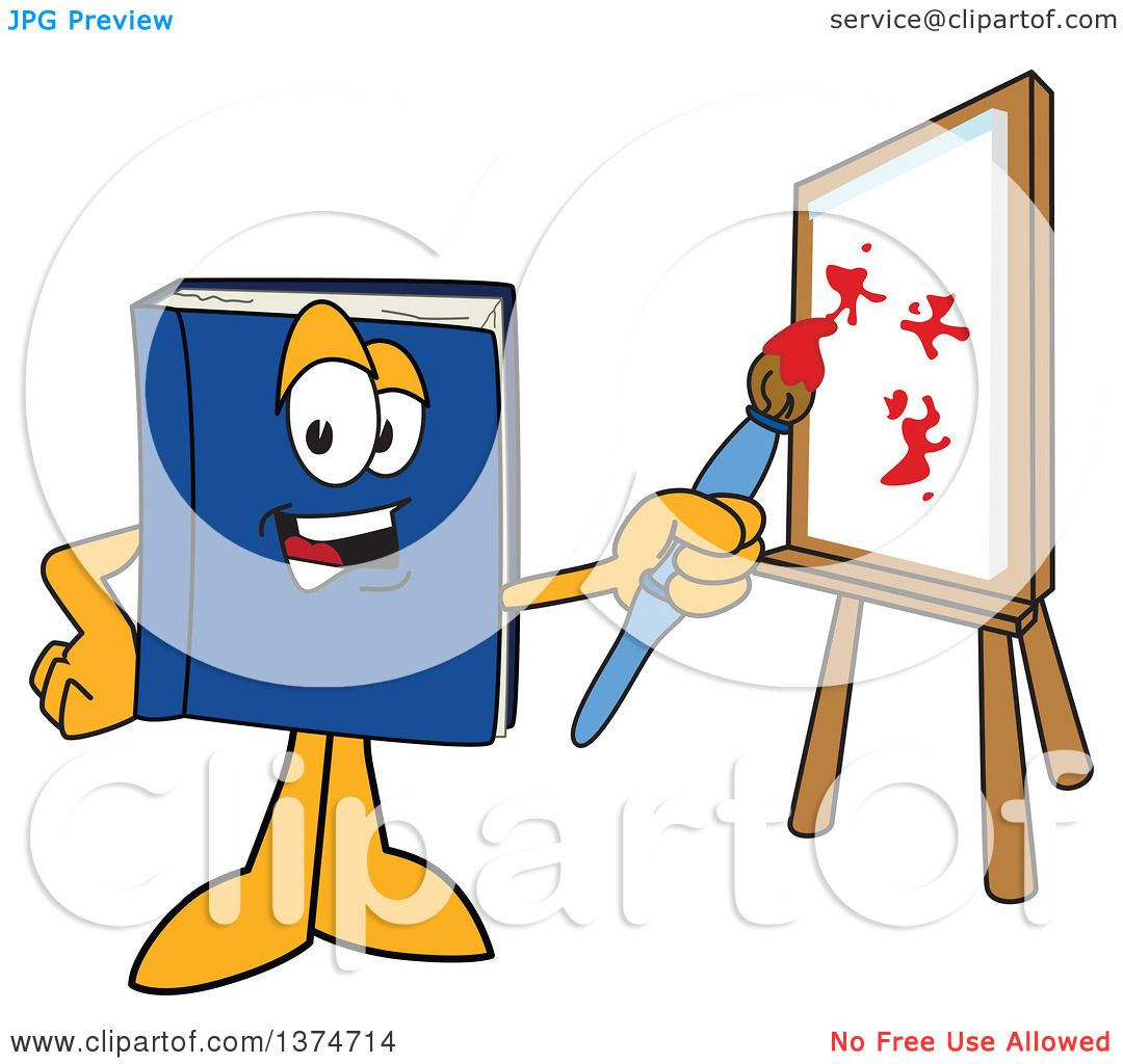 Clipart of a Blue Book Mascot Character Painting Art on a Canvas ...