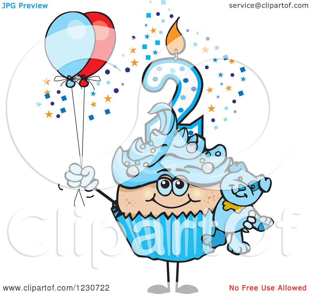 Clipart Of A Blue Boys Second Birthday Cupcake With A