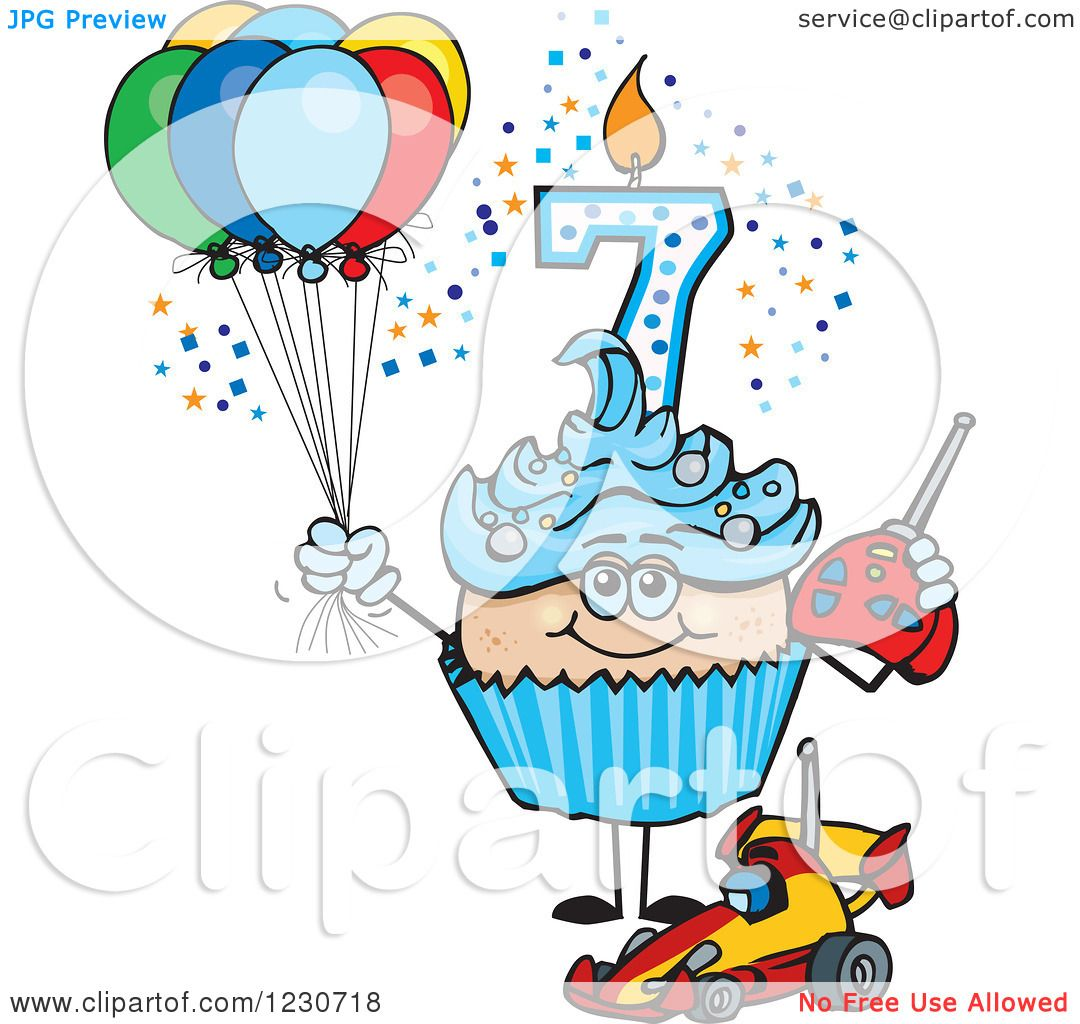 Clipart Of A Blue Boys Seventh Birthday Cupcake With A