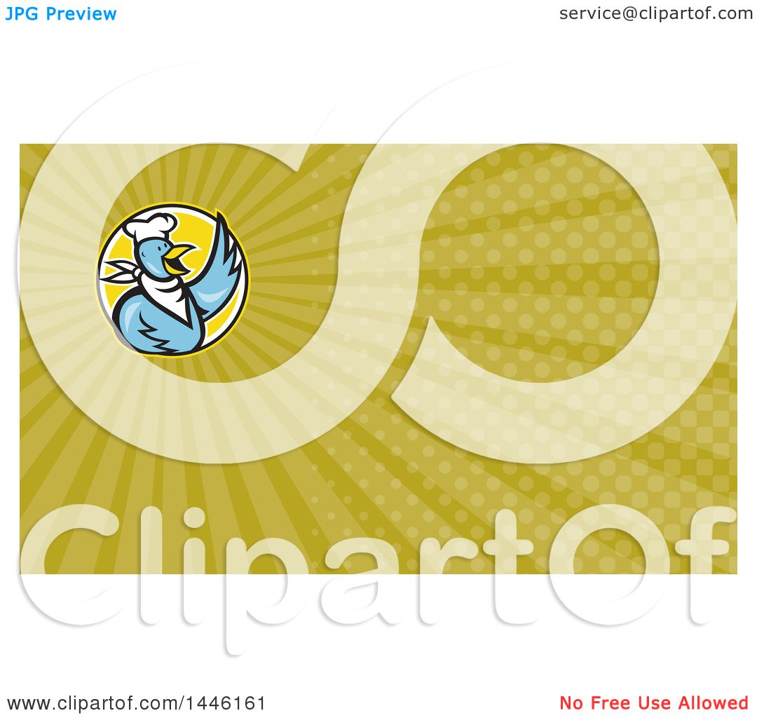 Clipart of a Blue Cartoon Chef Chicken Waving and Green Rays ...