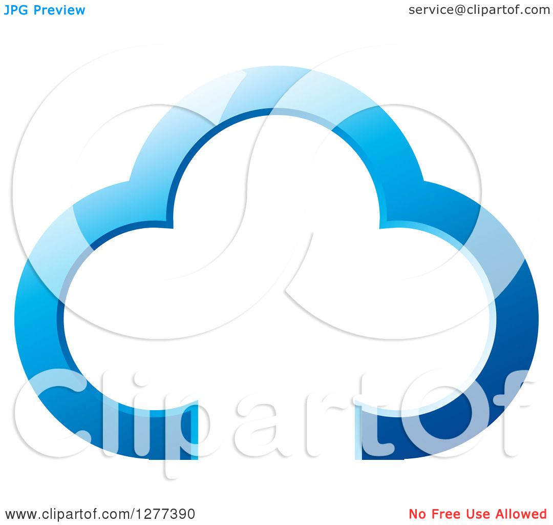 Clipart Of A Blue Cloud Outline