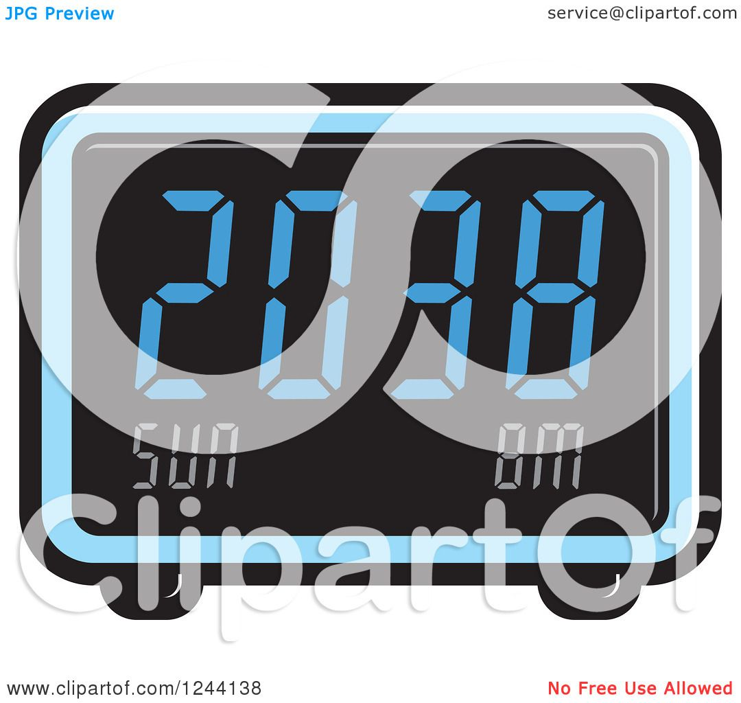 digital alarm clock clipart. clipart of a blue digital alarm clock royalty free vector illustration by lal perera k