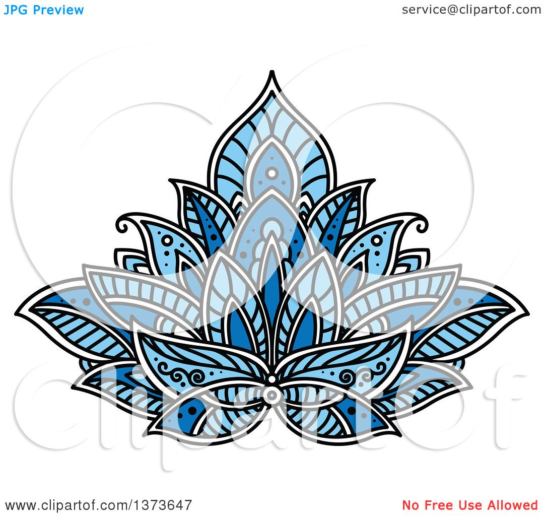 clipart of a blue henna lotus flower royalty free vector rh clipartof com Henna Flowers Henna Flowers