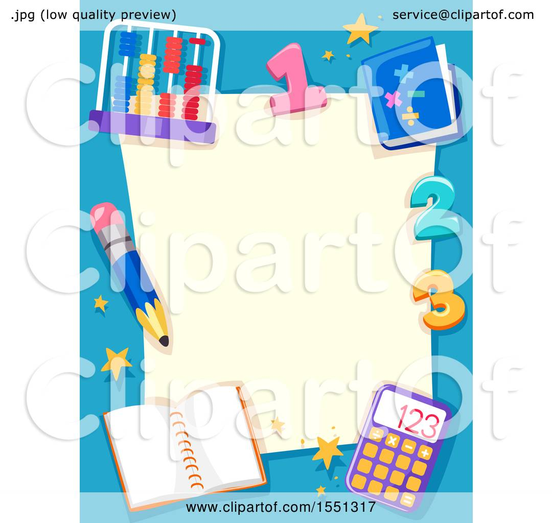 Clipart of a Blue Math Border with an Abacus, Numbers