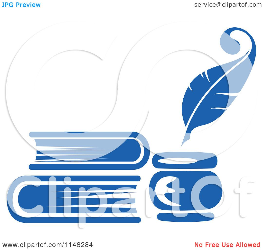Clipart of a Blue Quill Pen Inkwell and Books - Royalty ...Quill Pen And Inkwell Clipart