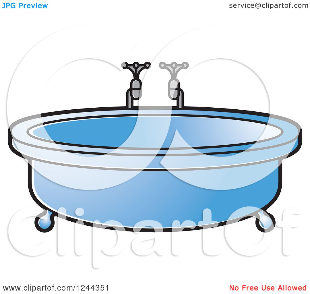 Clipart of a Blue Round Bath Tub - Royalty Free Vector Illustration ...