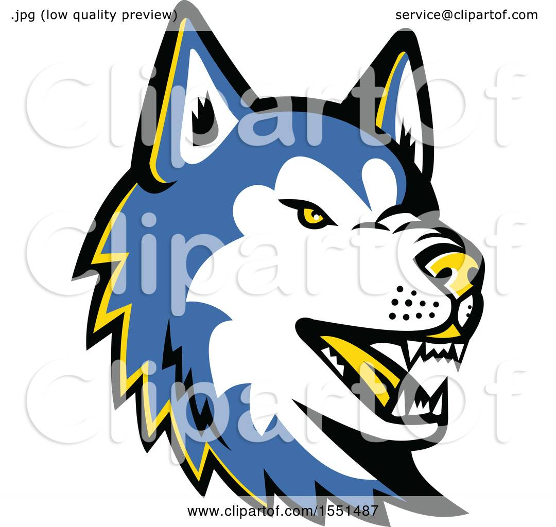 clipart of a blue siberian husky dog mascot head royalty free rh clipartof com husky mascot clipart siberian husky clipart