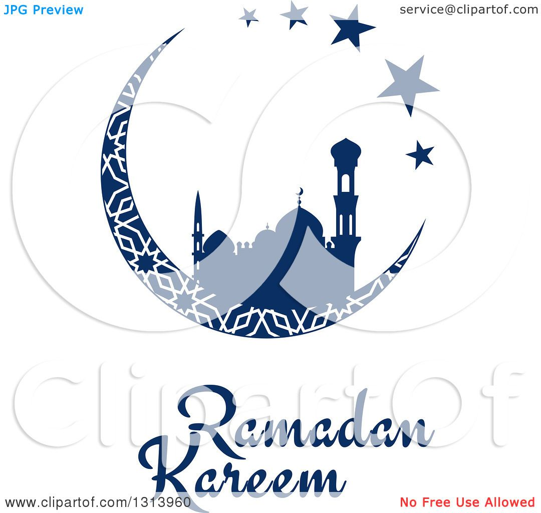 Clipart of a blue silhouetted mosque in a patterned crescent moon clipart of a blue silhouetted mosque in a patterned crescent moon with stars and ramadan kareem text for muslim holy month royalty free vector biocorpaavc Gallery