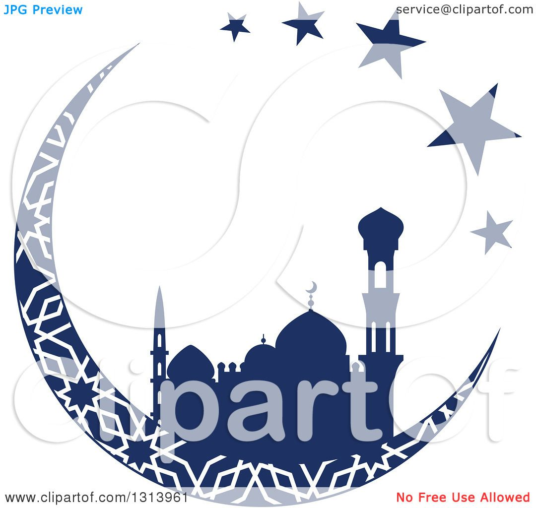 Clipart Of A Blue Silhouetted Mosque In Patterned Crescent Moon With Stars Ramadan Kareem For Muslim Holy Month