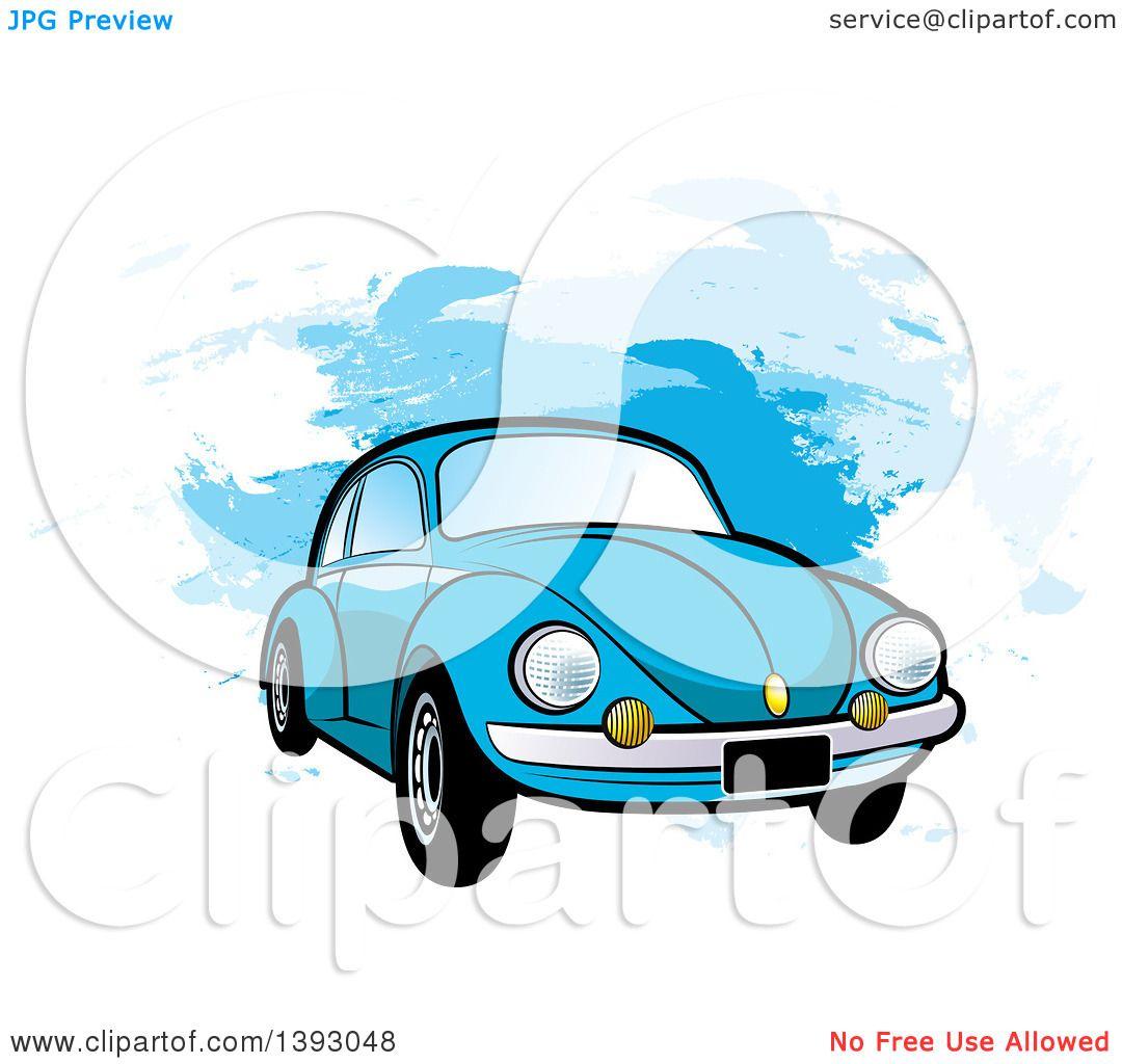 Clipart Of A Blue Vw Slug Bug Car Over Blue Paint Strokes Royalty