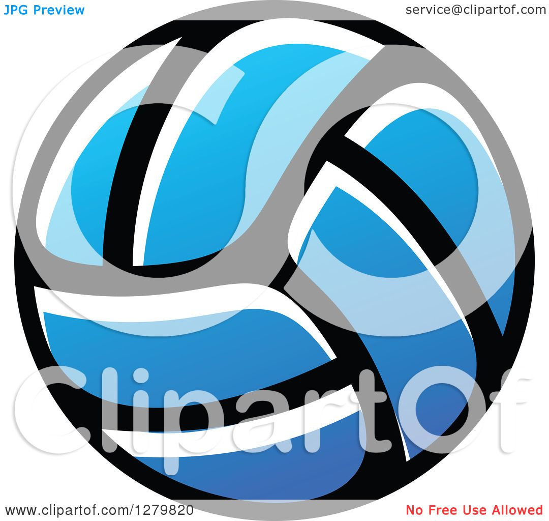 Clipart of a Blue Volleyball - Royalty Free Vector ...
