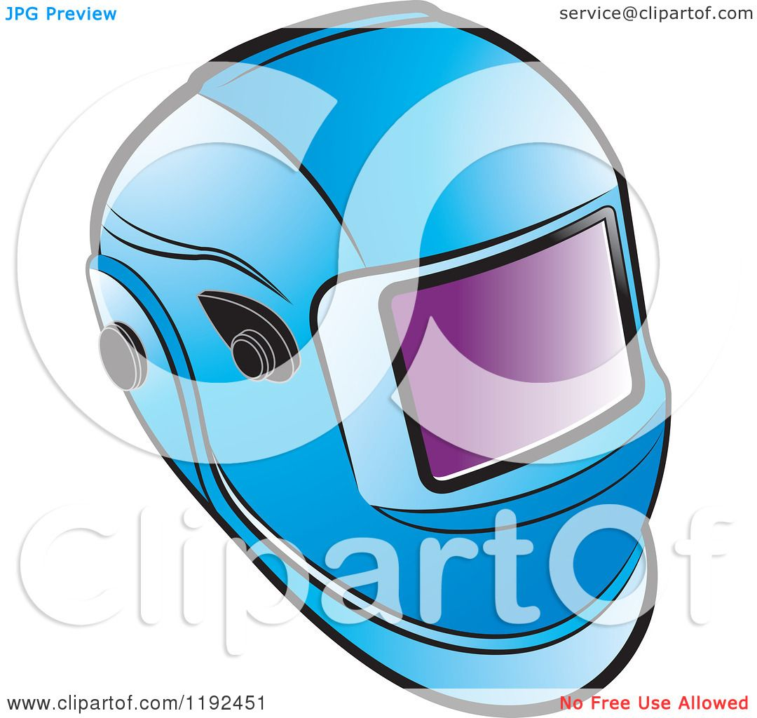 Clipart of a Blue Welding Helmet - Royalty Free Vector ...