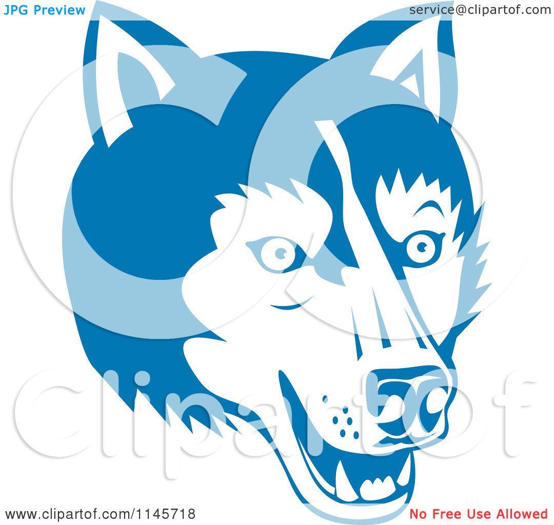 Clip Art Clipartof clipart of a blue wolf head royalty free vector illustration by patrimonio