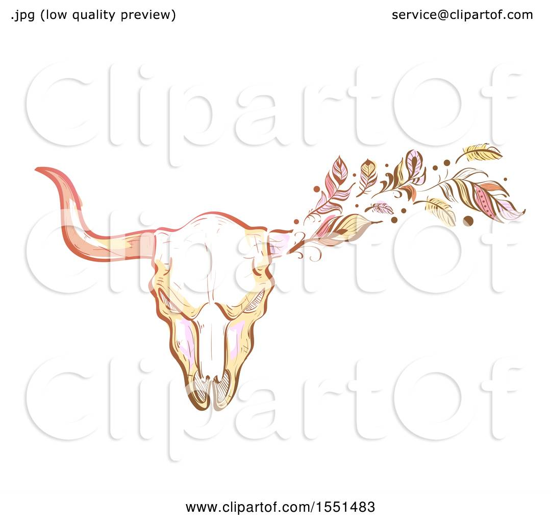 070009df6d7 Clipart of a Boho Styled Bull Skull with Feathers - Royalty Free Vector  Illustration by BNP