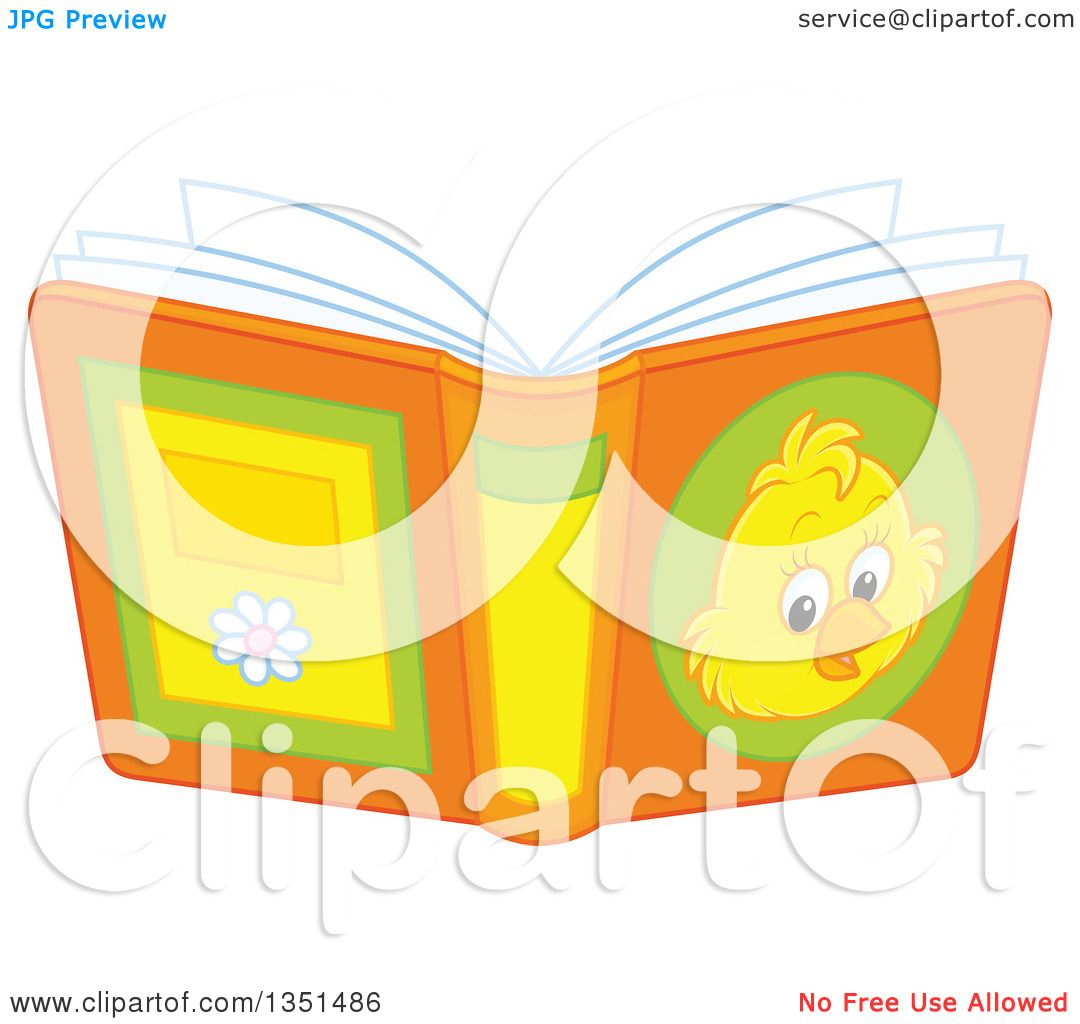 Book Cover Illustration Royalties : Clipart of a book with chick on the cover royalty free