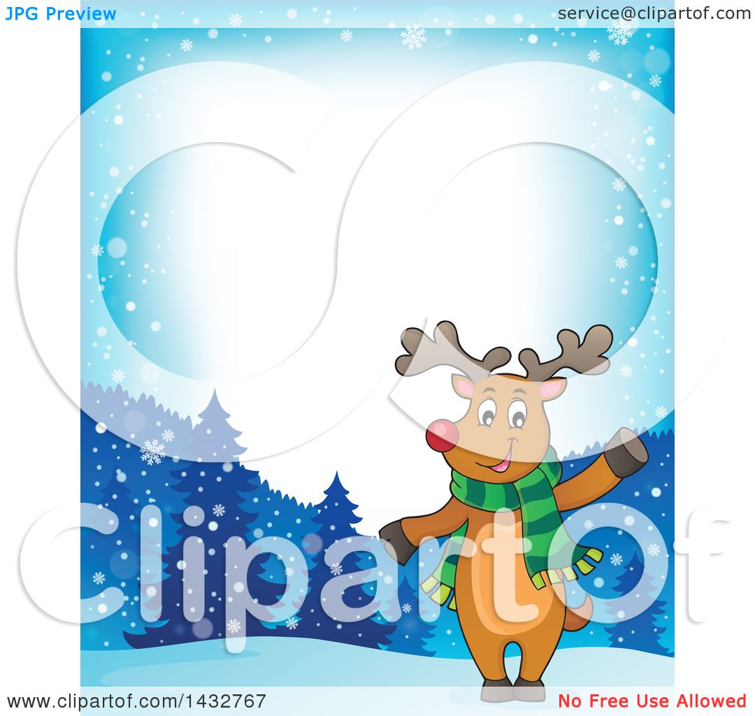 Clipart of a Border of a Christmas Reindeer Wearing a Scarf and ...