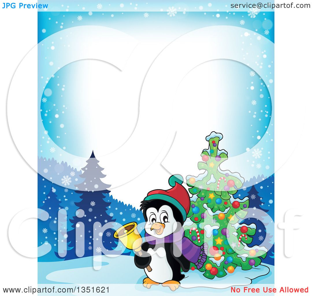 Clipart of a Border of a Cute Christmas Penguin Ringing a ...