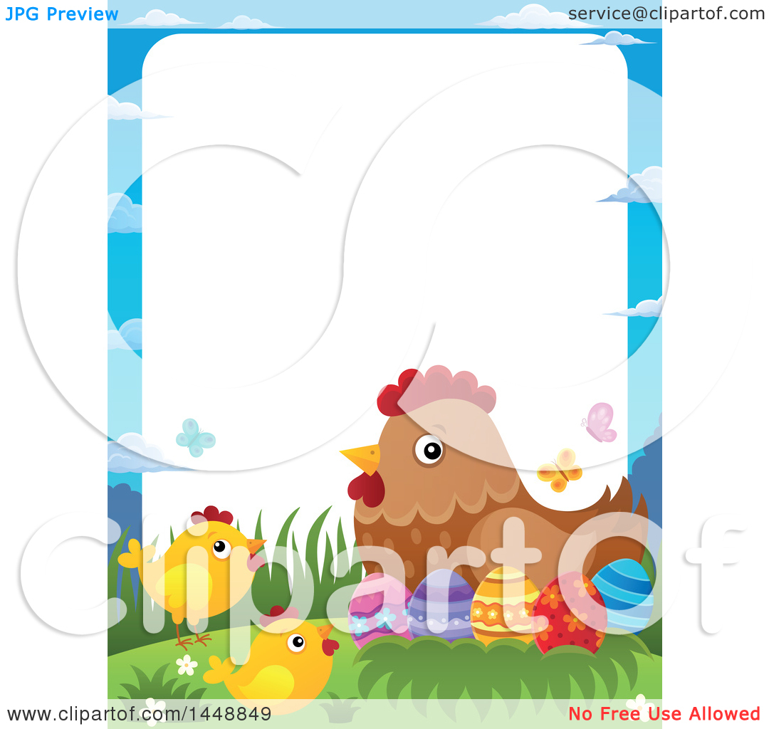 Clipart Of A Border Hen And Chicks With Easter Eggs