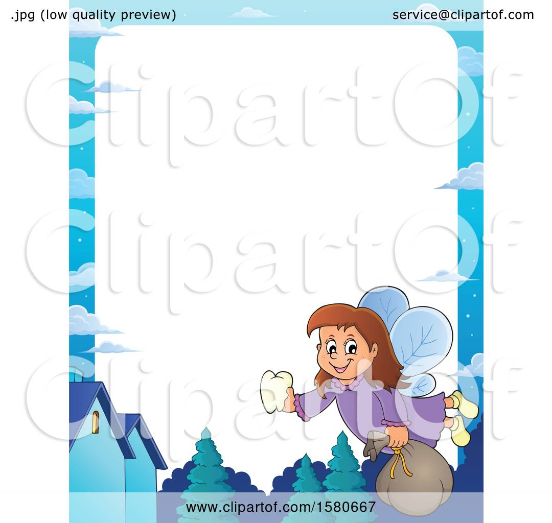 Clipart Of A Border Of A Tooth Fairy Flying Royalty Free Vector