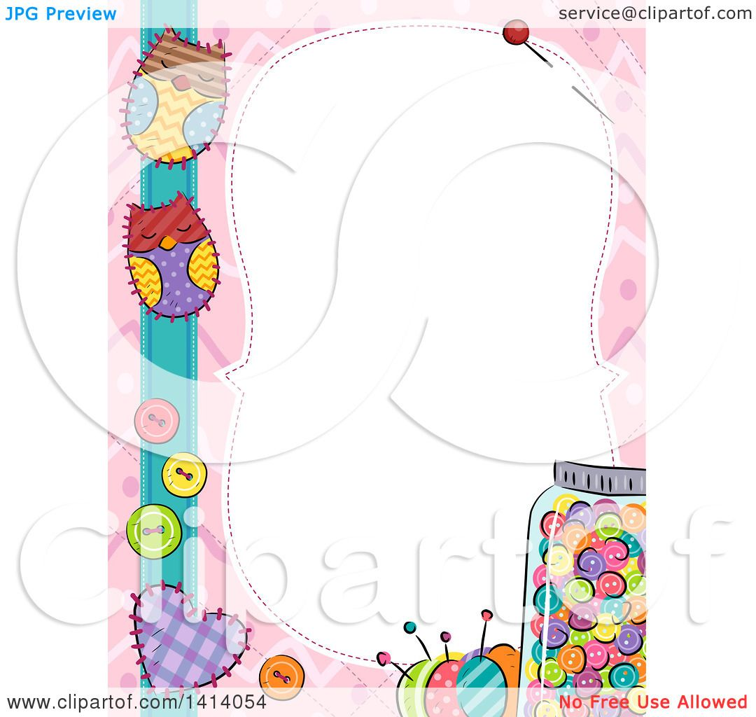 Clipart Of A Border Of Colorful Sewing Items And Owl Patches Royalty Free Vector Illustration 10241414054