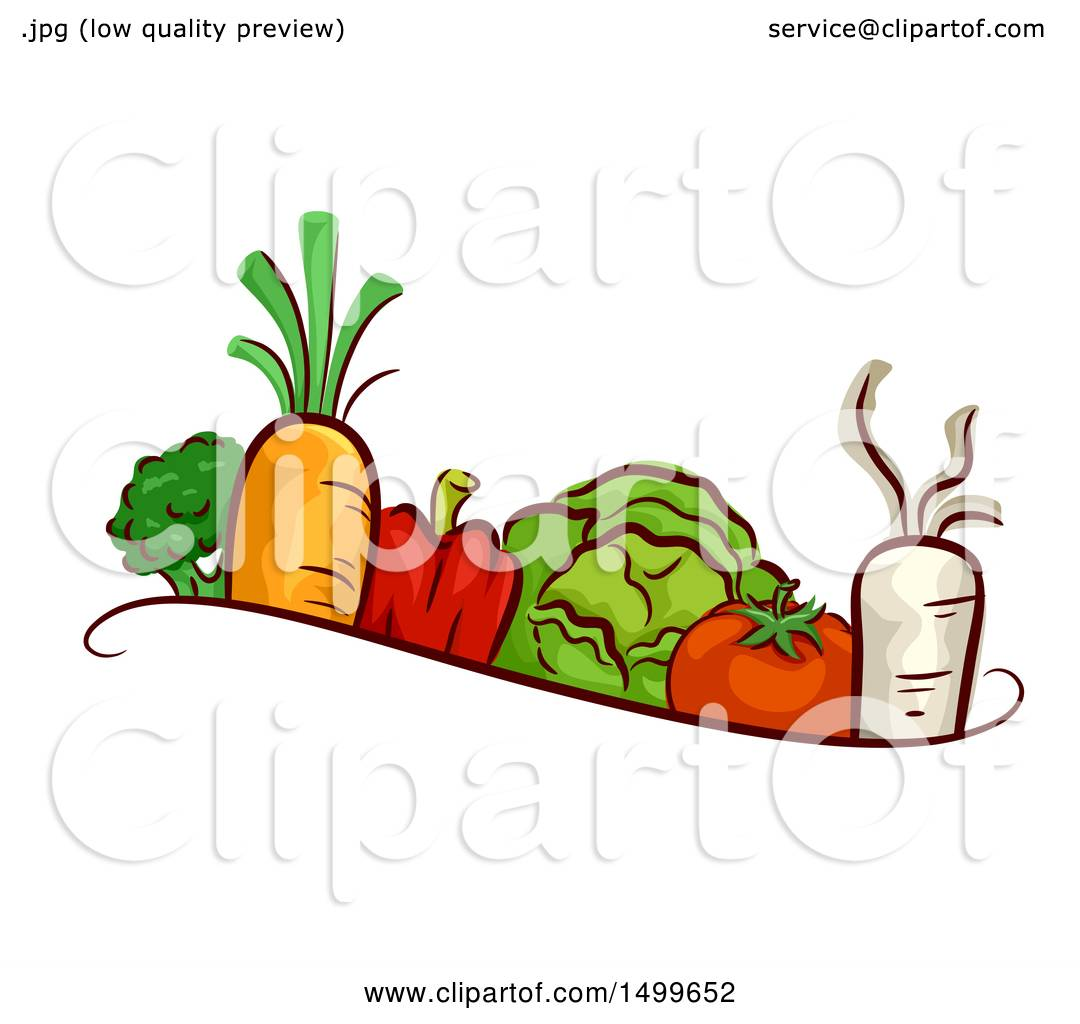 Clipart Of A Border Of Veggies Royalty Free Vector