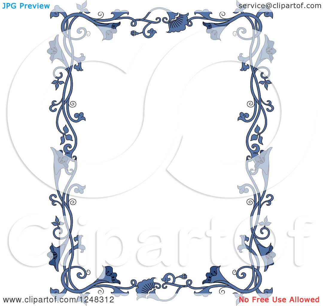 clipart of a border of vintage blue floral vines royalty free rh clipartof com Christmas Bulletin Clip Art Why Clip Art