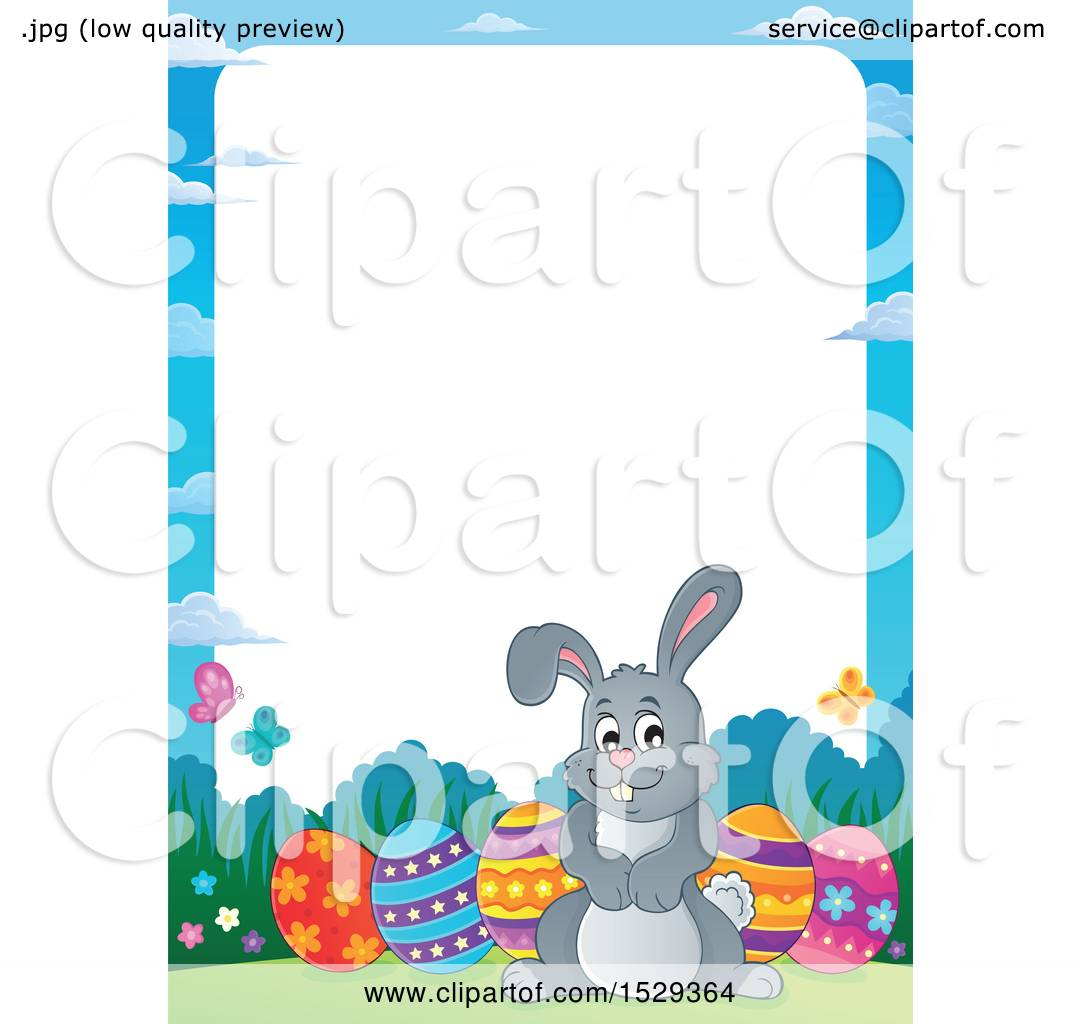 Clipart Of A Border With A Gray Easter Bunny Rabbit