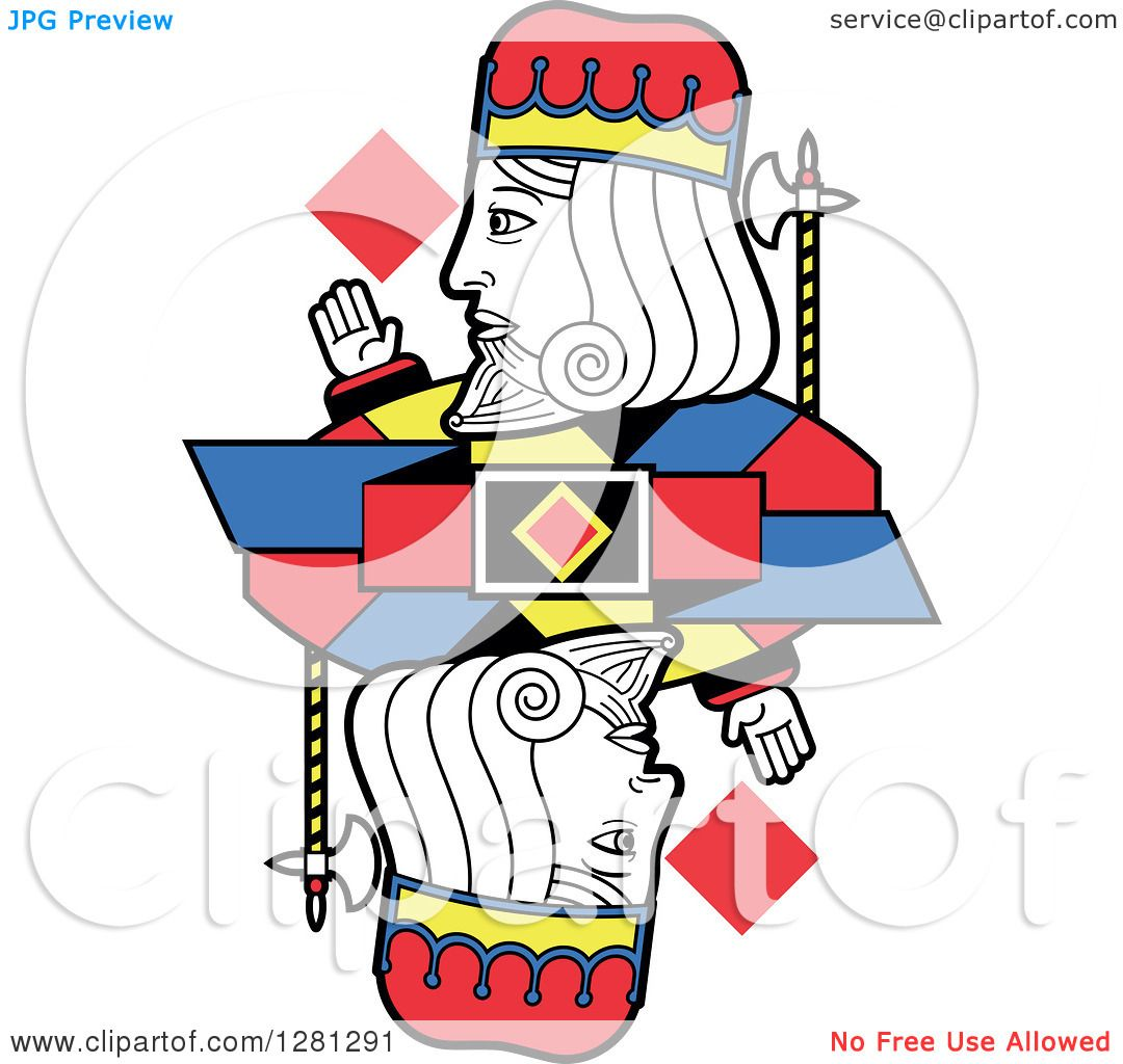 Clipart of a Borderless King of Diamonds Playing Card - Royalty ...