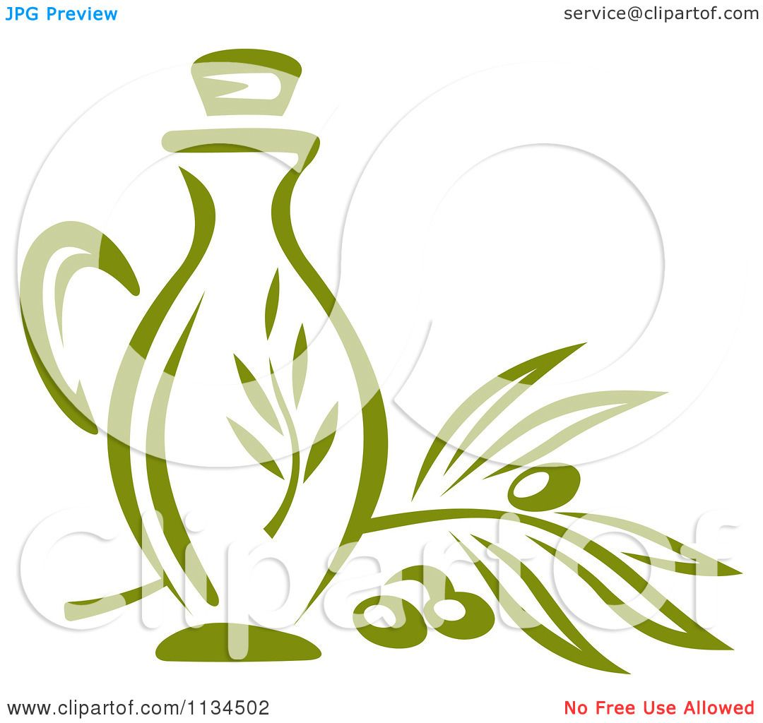 Clipart Of A Bottle Of Olive Oil 2 - Royalty Free Vector ...