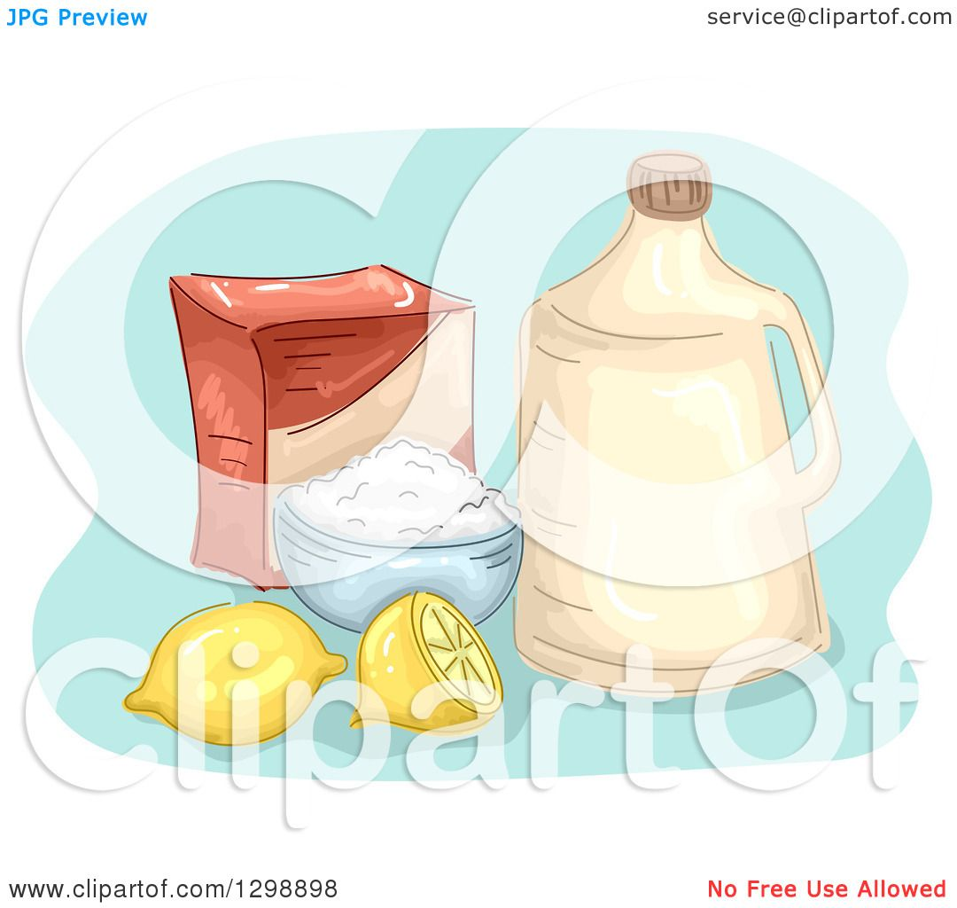Clipart Of A Bottle Of Vinegar With Baking Soda And Lemons