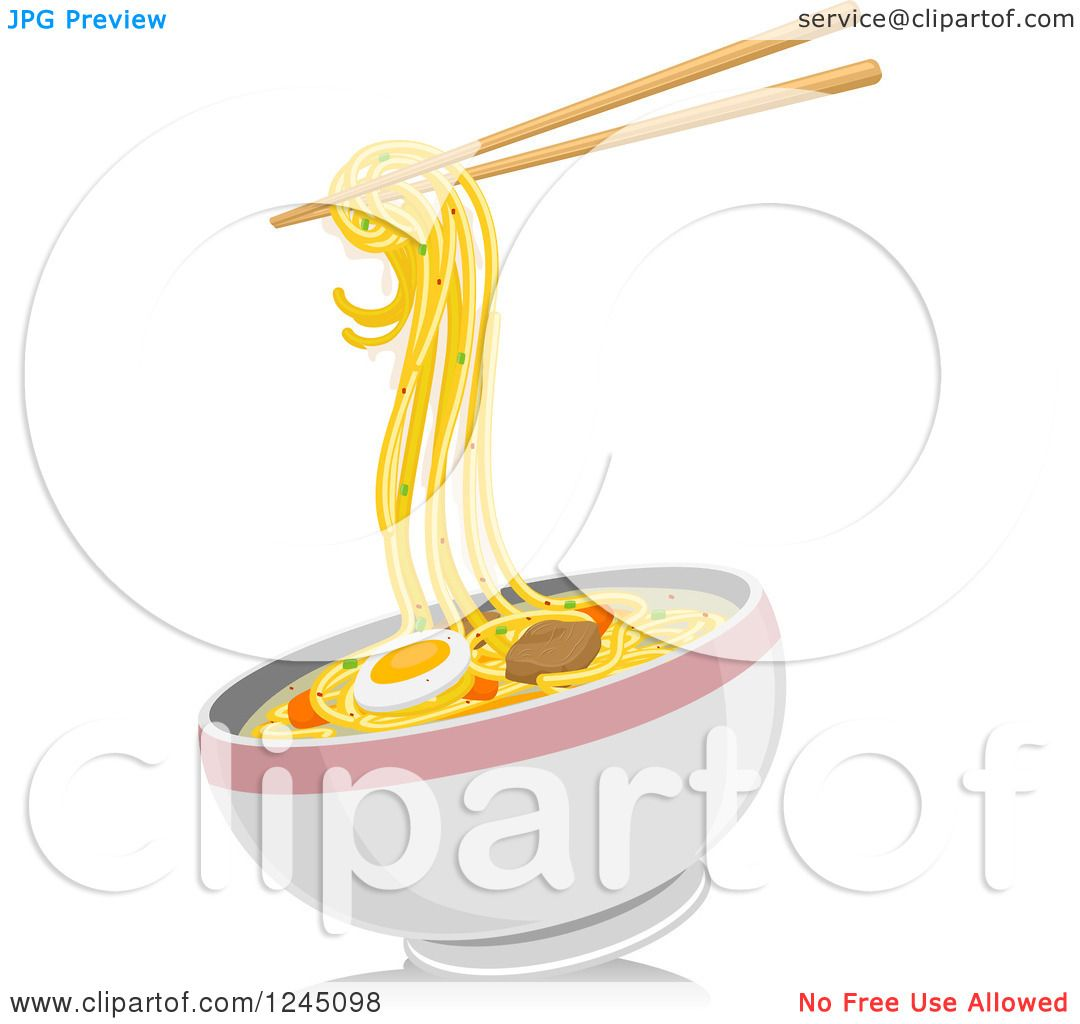 Clipart of a Bowl of Noodles and Chopsticks - Royalty Free ...
