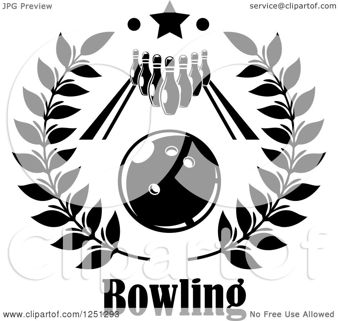 Clipart Of A Bowling Ball In A Wreath With An Alley And