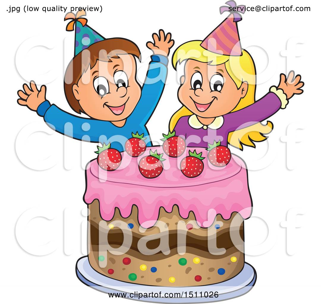 Clipart of a Boy and Girl Celebrating at a Birthday Party with a