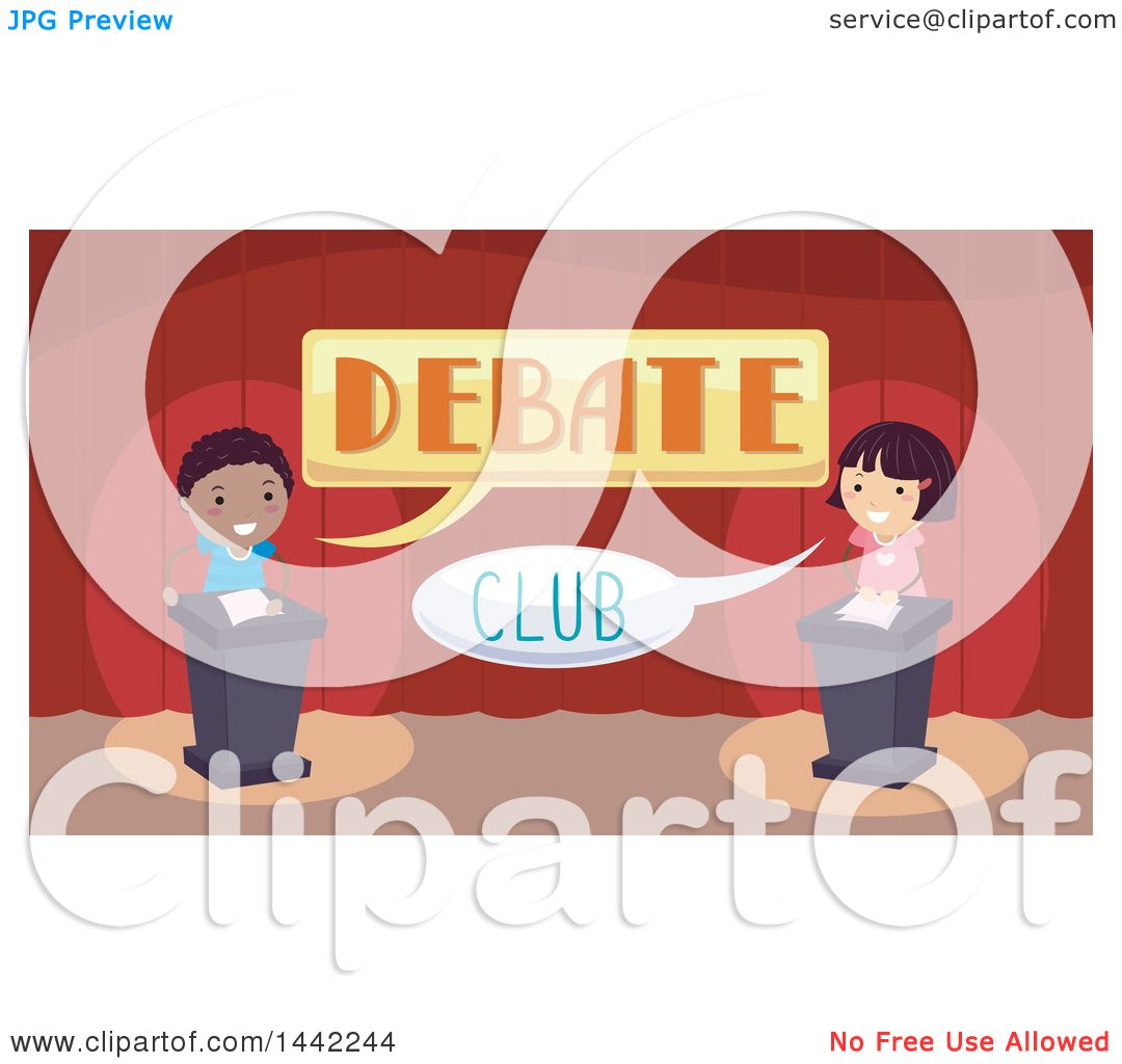 Clipart of a Boy and Girl in a Debate Club - Royalty Free Vector ...