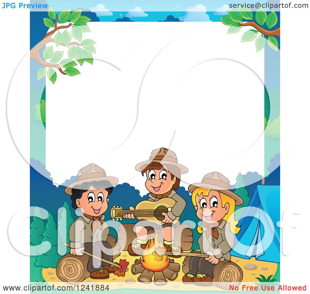 Clipart of a Boy and Girl Scouts Singing Around a Camp Fire with White ...