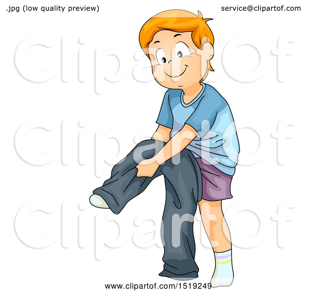 Clipart of a Boy Dressing and Putting on Pants - Royalty ...