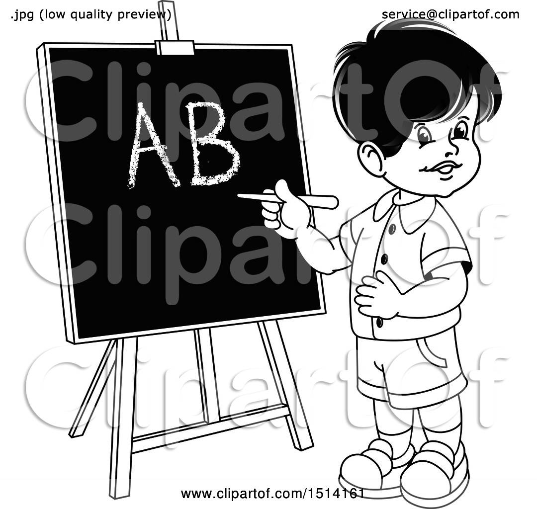 Clipart Of A Boy Writing The Alphabet On A Black Board Royalty