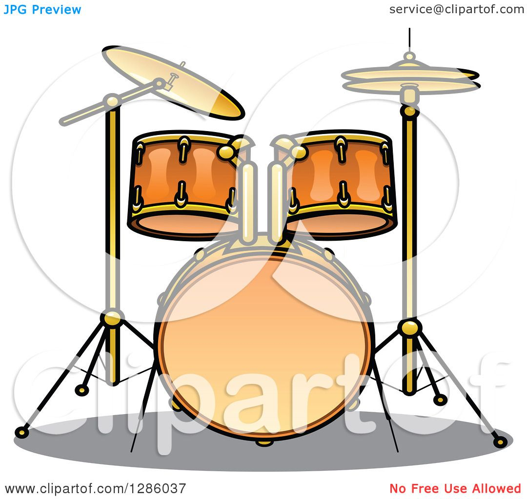 Clipart Of A Brass Drum Set Royalty Free Vector Illustration By