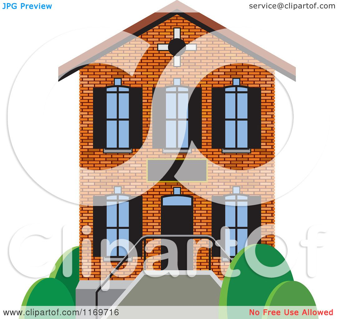 Clipart Of A Brick Two Story House Or Building