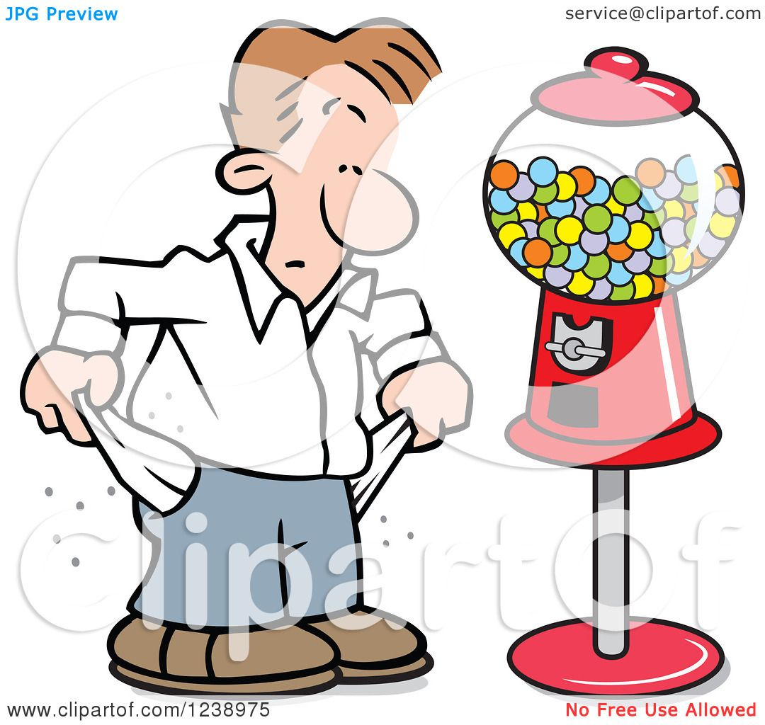 Free coloring page gumball machine - Clipart Of A Broke Caucasian Man Pulling Out His Pockets By A Gumball Machine Royalty Free Vector Illustration By Johnny Sajem