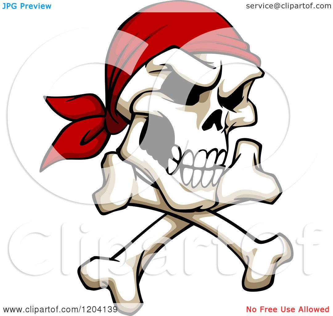Clipart Of A Broken Pirate Skull With A Bandana And