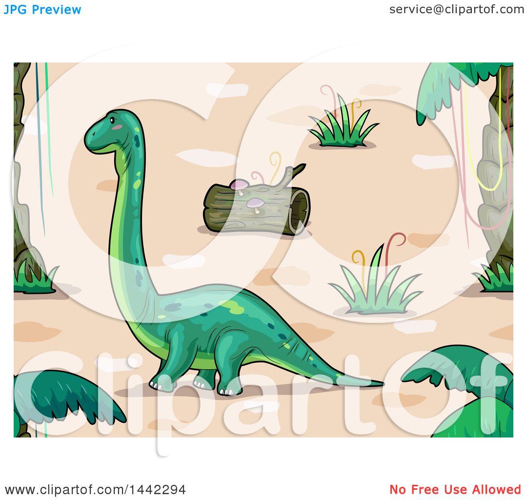 Landscape Illustration Vector Free: Clipart Of A Brontosaurus Dinosaur In A Prehistoric
