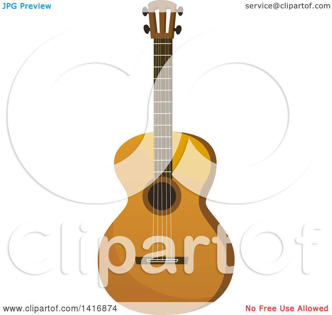 Clipart of a Brown Acoustic Guitar - Royalty Free Vector ...