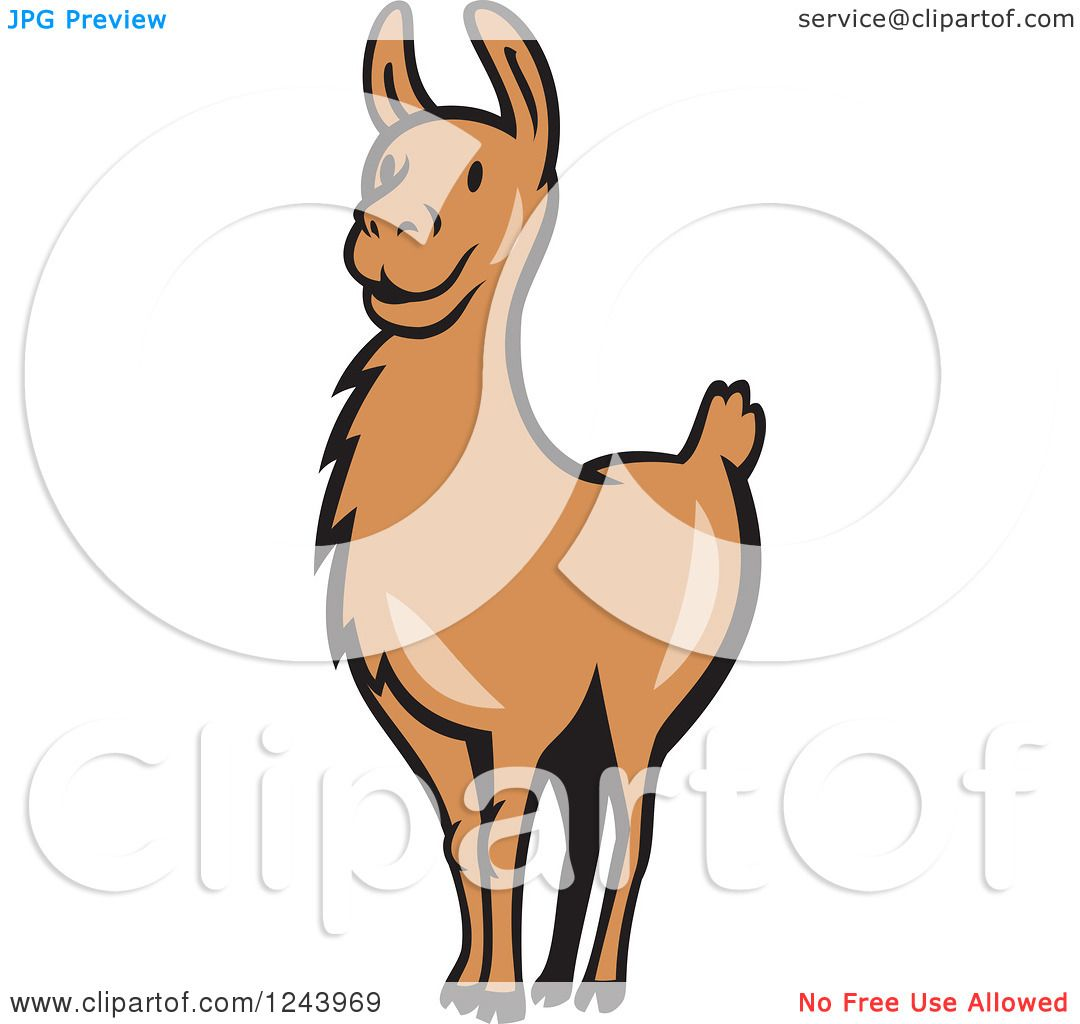 Clipart of a Brown Alert Llama - Royalty Free Vector Illustration ...