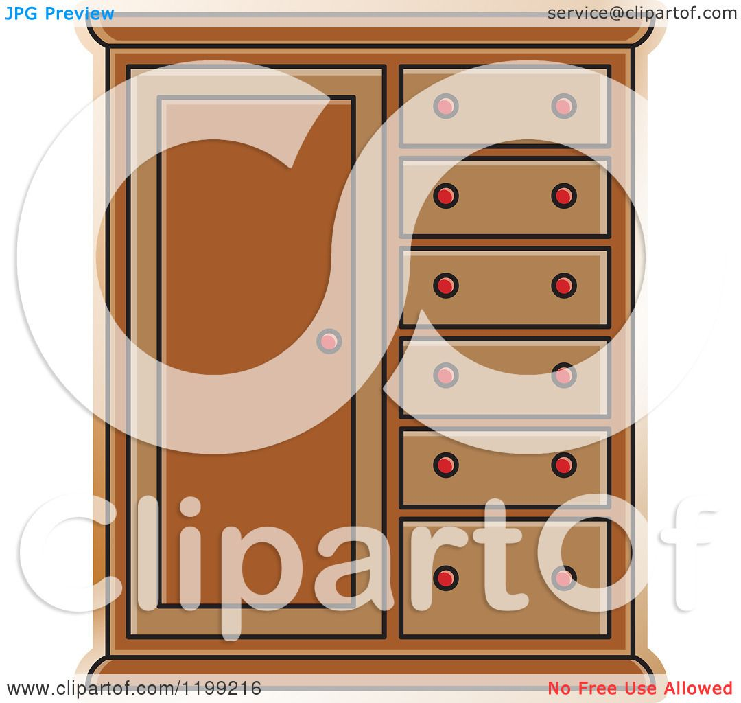 Kitchen Cabinet Clip Art: Clipart Of A Brown Almira Cabinet
