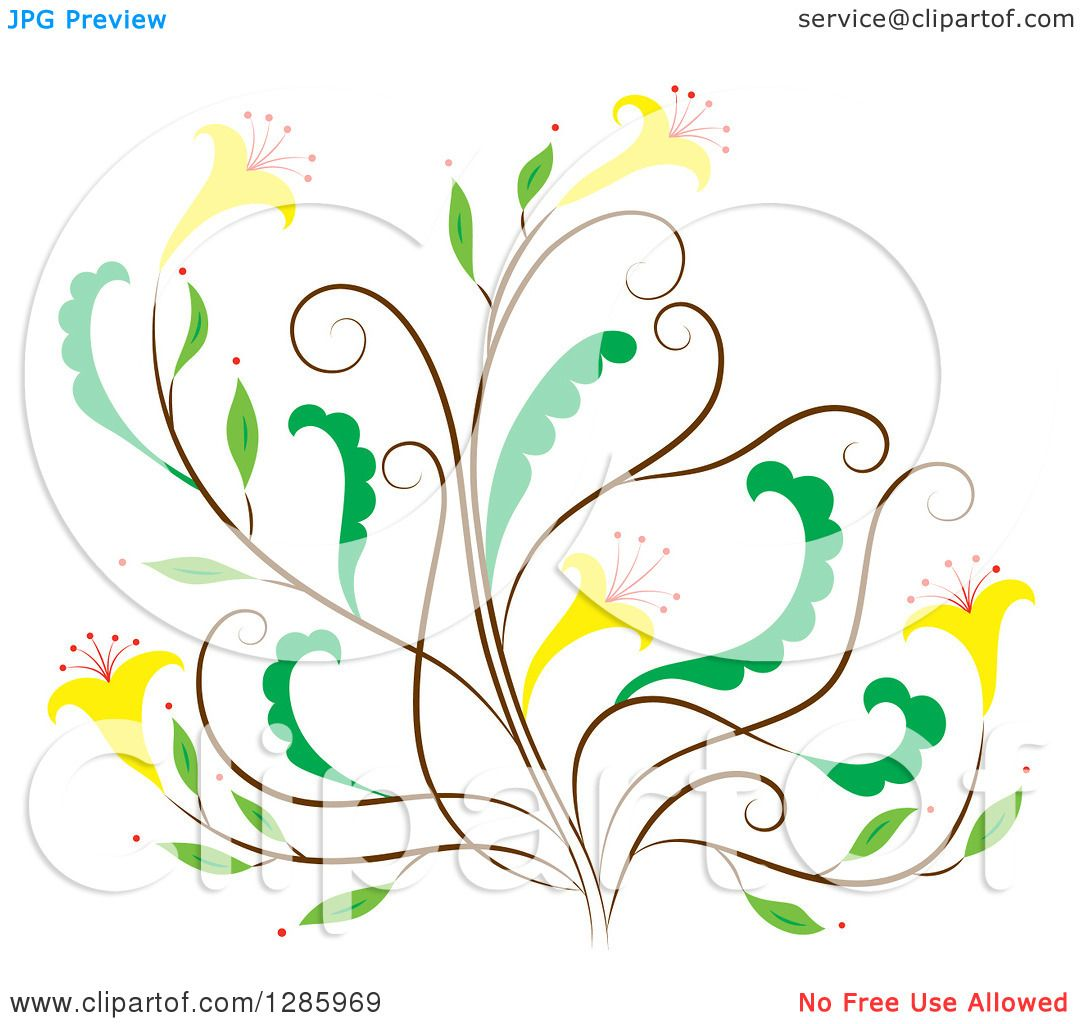 Clipart Of A Brown And Green Floral Design Element With Yellow