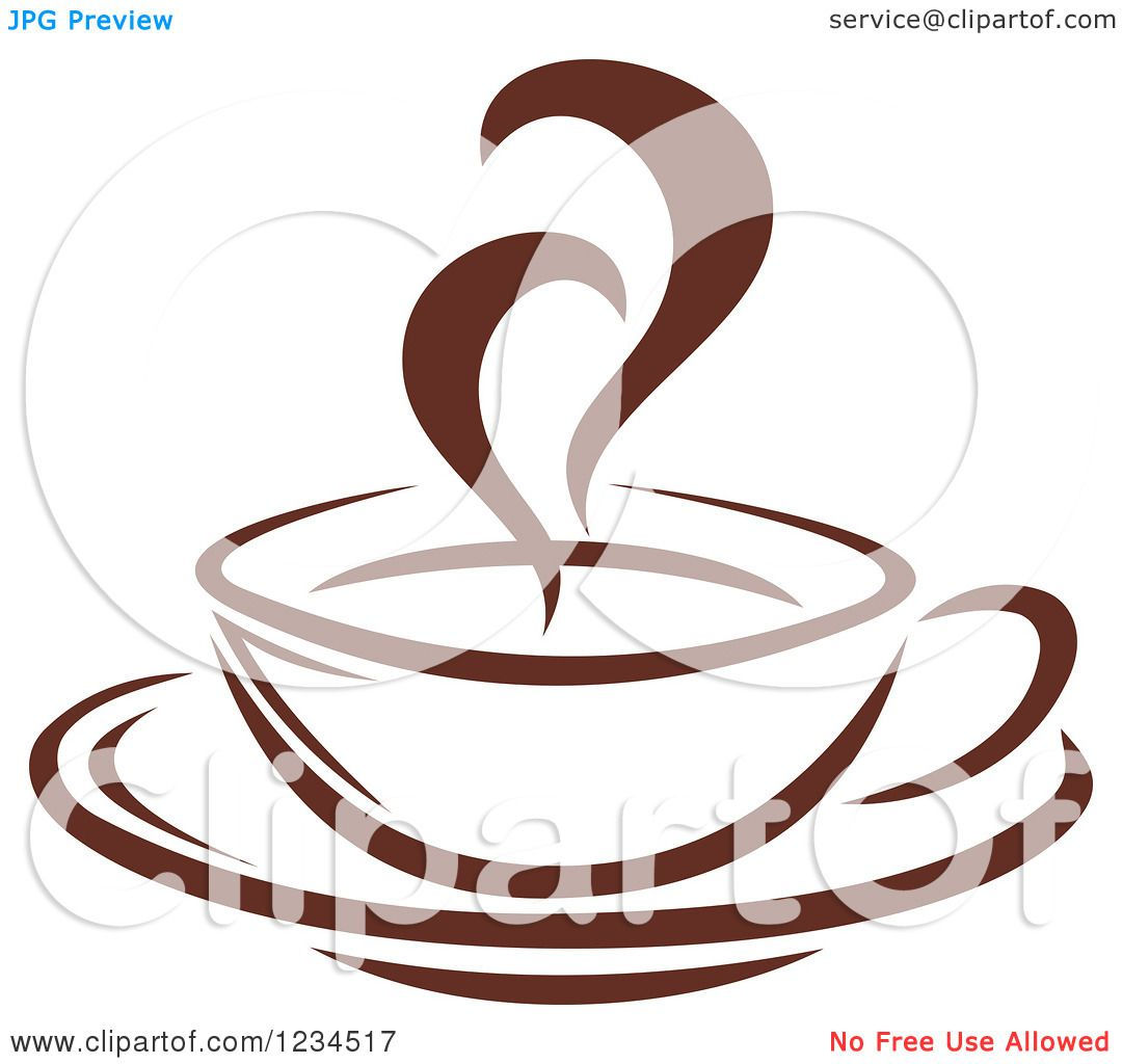 Clipart of a Brown Cafe Coffee Cup with Steam 11 - Royalty ...
