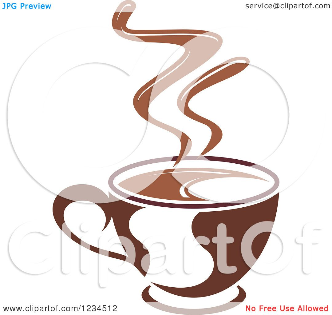 Clipart of a Brown Cafe Coffee Cup with Steam 6 - Royalty ...