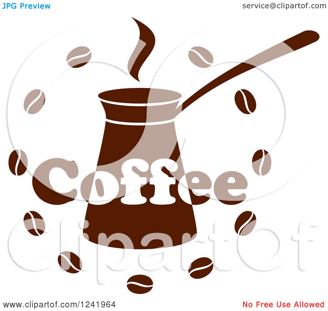 Clipart of a Brown Coffee Label - Royalty Free Vector ...
