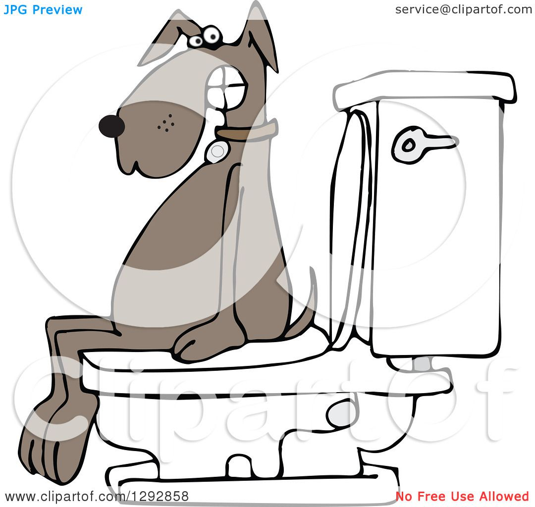 Royalty Free Toilet Clip Art Vector Images: Clipart Of A Brown Dog Pooping On A Toilet